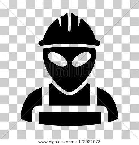 Alien Worker vector pictogram. Illustration style is flat iconic black symbol on a transparent background.