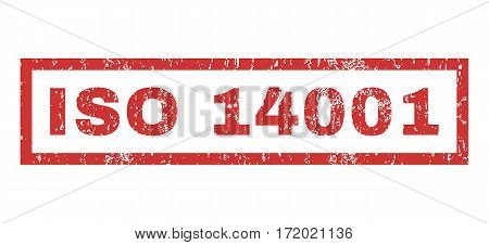 ISO 14001 text rubber seal stamp watermark. Caption inside rectangular shape with grunge design and unclean texture. Horizontal vector red ink sticker on a white background.