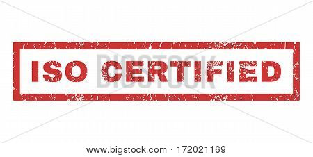 ISO Certified text rubber seal stamp watermark. Caption inside rectangular banner with grunge design and dirty texture. Horizontal vector red ink sticker on a white background.
