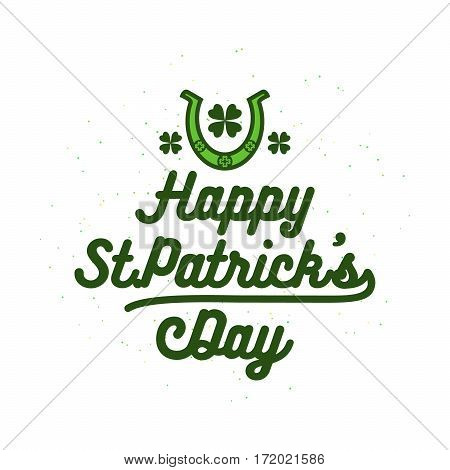 Vector illustration of happy patricks day typography text design for logo, banner, poster, greeting card, gift package isolated on white background
