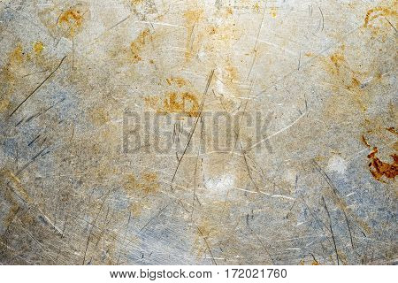 Scratched Rusty Old Metal Texture. Grunge Iron Plate. Industrial Metal Background.