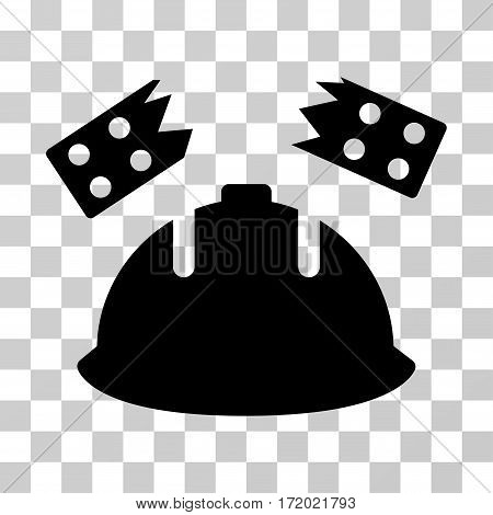 Brick Helmet Accident vector icon. Illustration style is flat iconic black symbol on a transparent background.