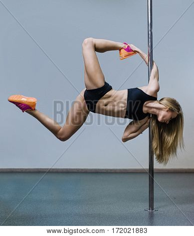 Pretty Pole Dancer Working Out In The Studio