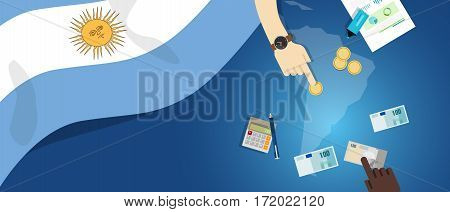 Argentina economy fiscal money trade concept illustration of financial banking budget with flag map and currency vector