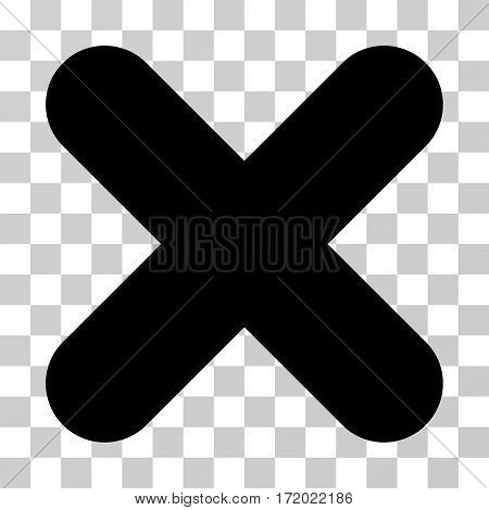 Cancel vector pictogram. Illustration style is flat iconic black symbol on a transparent background.