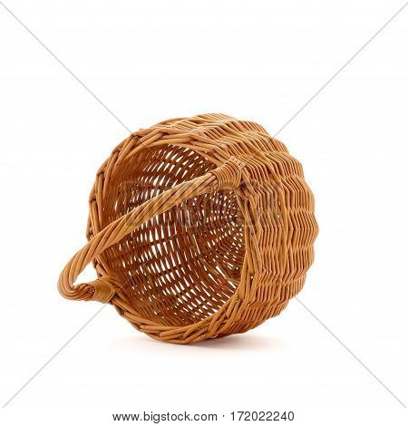 Inverted empty wicker basket on a white background.