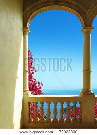 ancient patio with a view to the mediterranean sea
