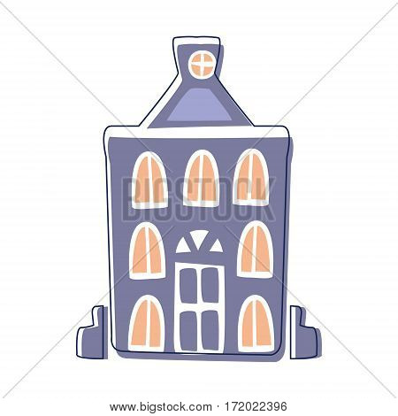 Blue Classy Building, Cute Fairy Tale City Landscape Element Outlined Cartoon Illustration. Fantasy Town Cityscape Architectural Object In Childish Design.