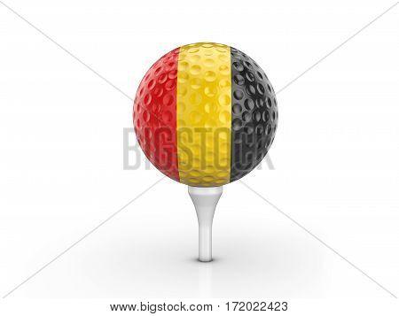 Golf Ball Belgium Flag 3D Illustration
