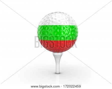 Golf Ball Bulgaria Flag 3D Illustration