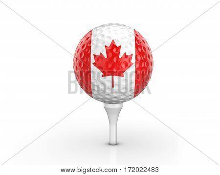 Golf Ball Canada Flag 3D Illustration
