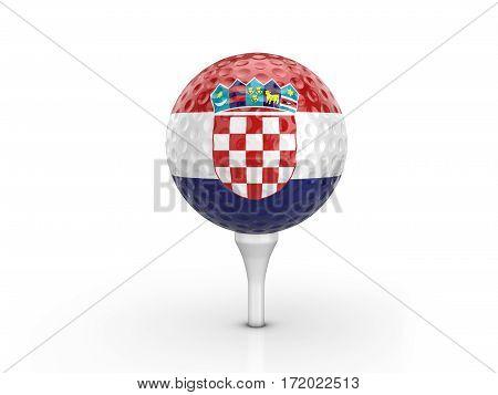 Golf Ball Croatia Flag 3D Illustration