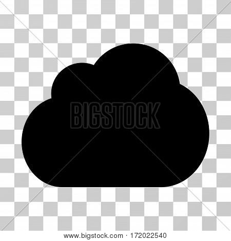 Cloud vector pictograph. Illustration style is flat iconic black symbol on a transparent background.