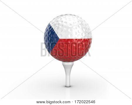 Golf Ball Czech Republic Flag 3D Illustration