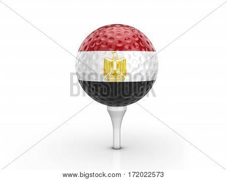 Golf Ball Egypt Flag 3D Illustration