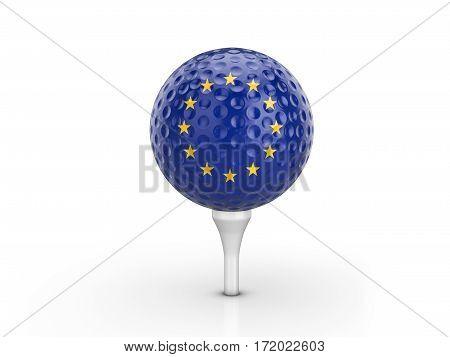 Golf Ball Eu Flag 3D Illustration
