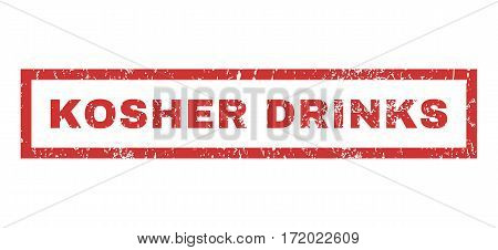 Kosher Drinks text rubber seal stamp watermark. Caption inside rectangular shape with grunge design and dirty texture. Horizontal vector red ink sticker on a white background.