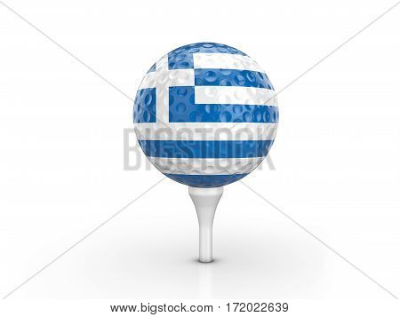 Golf Ball Greece Flag 3D Illustration
