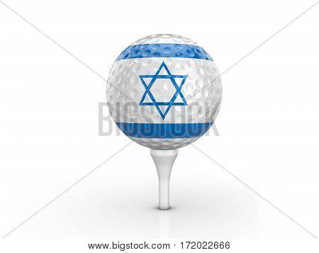 Golf Ball Israel Flag 3D Illustration