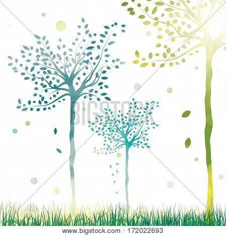 Vector spring trees bright sunny abstract background