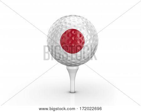 Golf Ball Japan Flag 3D Illustration