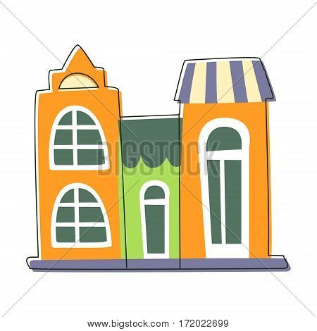 Three Small Houses Close To Each Other In Green And Orange Color, Cute Fairy Tale City Landscape Element Outlined Cartoon Illustration. Fantasy Town Cityscape Architectural Object In Childish Design.
