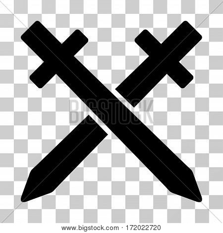 Crossing Swords vector pictogram. Illustration style is flat iconic black symbol on a transparent background.