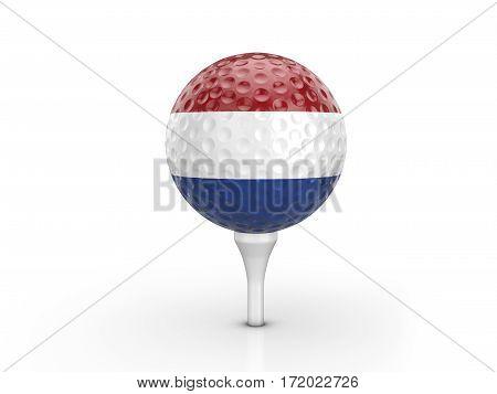 Golf Ball Netherlands Flag 3D Illustration