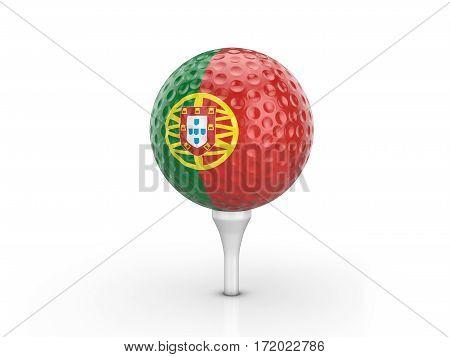 Golf Ball Portugal Flag 3D Illustration