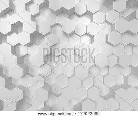 3d white Polygon Abstract Polygonal Geometric Hexagon Background