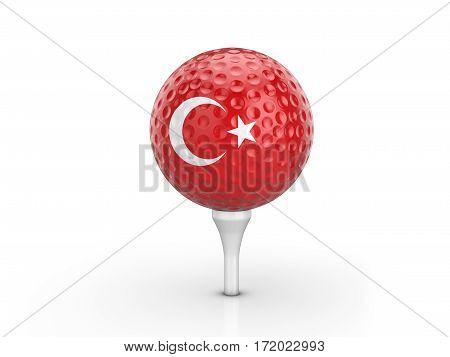 Golf Ball Turkey Flag 3D Illustration