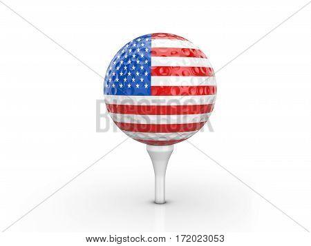 Golf Ball Usa Flag 3D Illustration