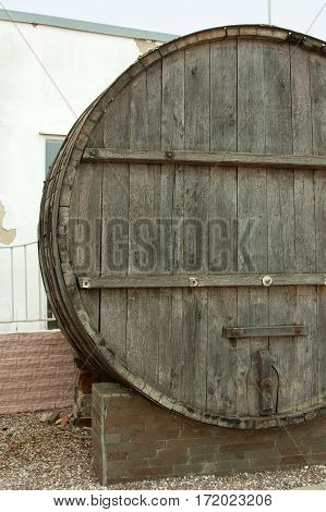 Large, wooden barrels for wine production in the wine factory in Taman Krasnodar region of Russia