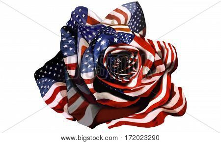 american blooming flag flower flowering flowers from rose 3D illustration