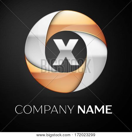 Letter X vector logo symbol in the colorful circle on black background. Vector template for your design