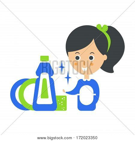 Cleanup Service Maid And Clean Dishes, Cleaning Company Infographic Illustration. Professional Cleaner And Her Work Flat Icon In Green And Blue Color.