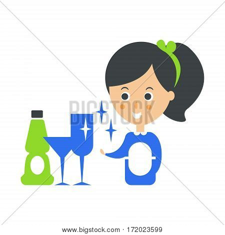 Cleanup Service Maid And Clean Glasses, Cleaning Company Infographic Illustration. Professional Cleaner And Her Work Flat Icon In Green And Blue Color.