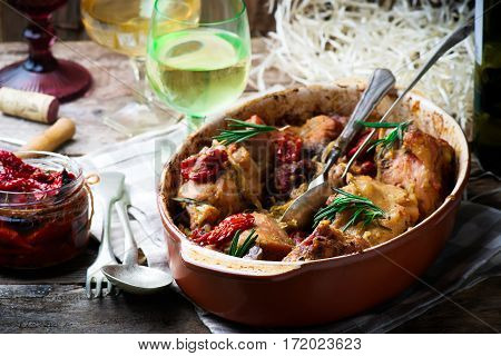 Braised rabbit with vegetables.style rustic. selective focus