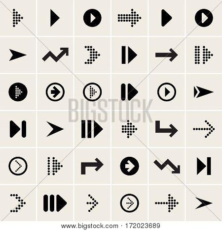 Big set of vector black arrow icons