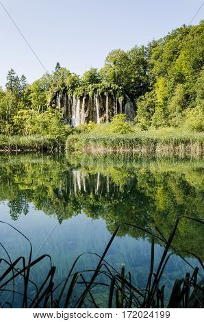 landscape of plitvicka national lake park at sunset unesco heritage site plitvice croatia.
