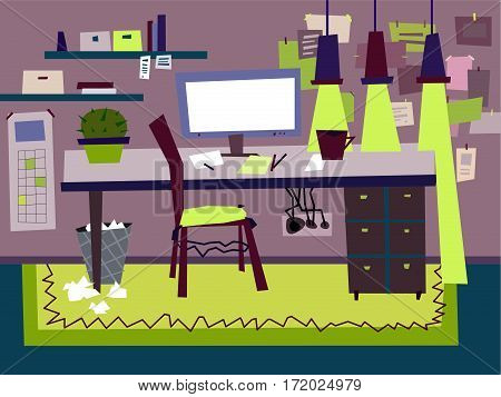 Cartoon Flat interior work room vector illustration. A set of furniture. Design of the workplace. Technics, computer, notes, chair, room, table, cactus