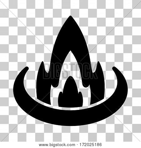 Fire Location vector pictogram. Illustration style is flat iconic black symbol on a transparent background.