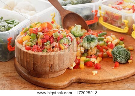 Healthy food frozen vegetables. Cooking ingredients packaging in container.