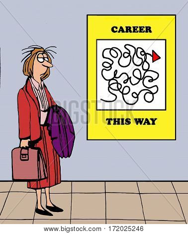 Color business cartoon showing a tired businesswoman looking at a confusing career path.