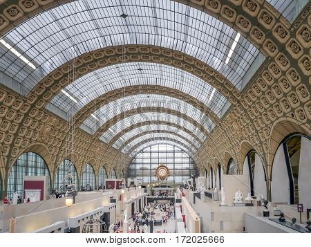 PARIS, FRANCE - 25 AUGUST, 2013 - Main hall of d'Orsay Museum, Paris, France