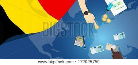 Belgium economy fiscal money trade concept illustration of financial banking budget with flag map and currency vector