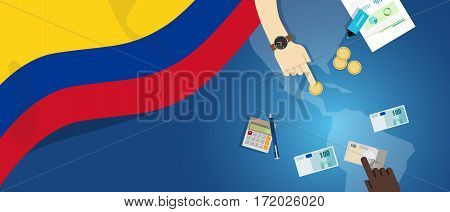 Colombia economy fiscal money trade concept illustration of financial banking budget with flag map and currency vector