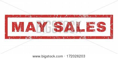 May Sales text rubber seal stamp watermark. Caption inside rectangular shape with grunge design and unclean texture. Horizontal vector red ink sign on a white background.