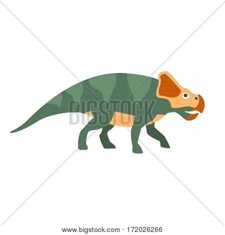 Protoceraptor Dinosaur Of Jurassic Period, Prehistoric Extinct Giant Reptile Cartoon Realistic Animal. Simplified Dinosaur Species Vector Illustration With Recognizable Details Of Ancient Fauna.