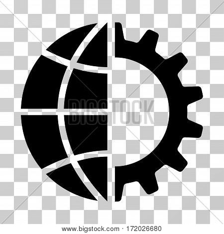 Global Industry vector pictogram. Illustration style is flat iconic black symbol on a transparent background.